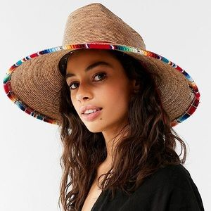 Peter Grimm straw hat with southwestern textile